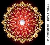 mandala brooch jewelry  design... | Shutterstock .eps vector #1098575687