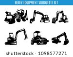 heavy equipment silhouette set | Shutterstock .eps vector #1098577271