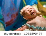 new born baby boy with... | Shutterstock . vector #1098590474
