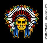 colorful american indian chief... | Shutterstock .eps vector #1098590591