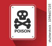 poison warning sign on red... | Shutterstock .eps vector #1098607235