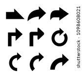 black arrows vector collection | Shutterstock .eps vector #1098608021