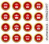 street food kiosk icons set.... | Shutterstock .eps vector #1098621497