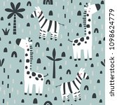 pattern with cute zebra and...   Shutterstock .eps vector #1098624779