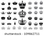 Set of 40  detailed crowns isolated on white background