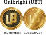 set of physical golden coin... | Shutterstock .eps vector #1098629234