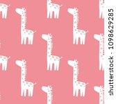 seamless pattern with giraffe...   Shutterstock .eps vector #1098629285