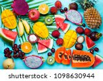 assortment of tropical exotic... | Shutterstock . vector #1098630944