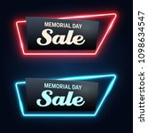memorial day sale neon vector... | Shutterstock .eps vector #1098634547