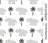 seamless pattern with hippo on...   Shutterstock .eps vector #1098635165