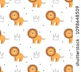pattern with cute lion on white ...   Shutterstock .eps vector #1098648509
