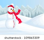 winter background with smiling... | Shutterstock . vector #109865309
