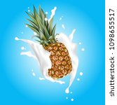 pineapple 3d vector with... | Shutterstock .eps vector #1098655517