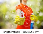 cleaner shows the model of a... | Shutterstock . vector #1098657494