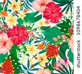 vector summer exotic seamless... | Shutterstock .eps vector #1098678404