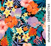vector summer exotic seamless... | Shutterstock .eps vector #1098687764
