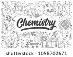 hand drawn chemistry doodle set.... | Shutterstock .eps vector #1098702671