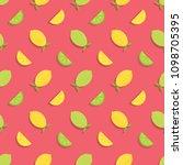 seamless pattern with lemons... | Shutterstock .eps vector #1098705395