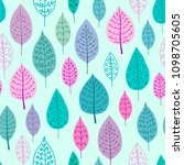 cute seamless stylish leaves... | Shutterstock .eps vector #1098705605