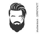 bearded man face  hipster... | Shutterstock .eps vector #1098747677