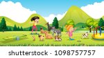 young girls training the dogs... | Shutterstock .eps vector #1098757757