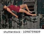beautiful young woman floating...   Shutterstock . vector #1098759809