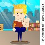 schoolboy showing deny or... | Shutterstock .eps vector #1098760595