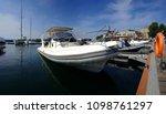 white speed boat on the port | Shutterstock . vector #1098761297