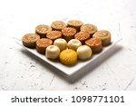 sweet peda   pedha in different ... | Shutterstock . vector #1098771101