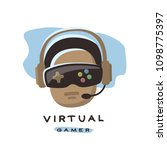 gamer is playing  in 3d virtual ... | Shutterstock .eps vector #1098775397