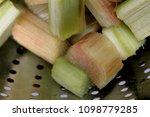 fresh rhubarb in a sieve | Shutterstock . vector #1098779285