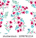 sketched vector flower print in ... | Shutterstock .eps vector #1098781214