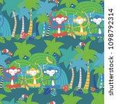 vector blue jungle party... | Shutterstock .eps vector #1098792314