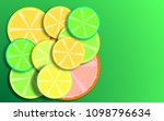 citrus fruits on a green... | Shutterstock . vector #1098796634