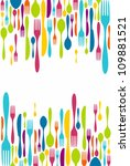 multicolored cutlery icons... | Shutterstock .eps vector #109881521