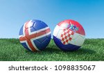 two soccer balls in flags... | Shutterstock . vector #1098835067