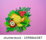fruit made of paper. pink... | Shutterstock . vector #1098866387