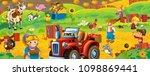 cartoon scene with happy farmer ... | Shutterstock . vector #1098869441