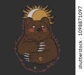russian shaman bear | Shutterstock .eps vector #1098871097