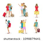 set of tourist people with... | Shutterstock .eps vector #1098879641