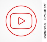 red round button  icon video... | Shutterstock .eps vector #1098881429
