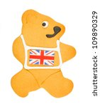 Gingerbread Bear with Union Flag icing vest isolated on a white background - stock photo