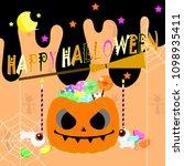 happy halloween with pumpkin... | Shutterstock .eps vector #1098935411