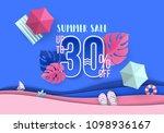 summer sale banner design with... | Shutterstock .eps vector #1098936167
