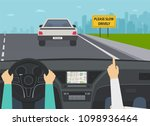 car on highway view from the... | Shutterstock .eps vector #1098936464
