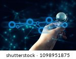 hand with internet global... | Shutterstock . vector #1098951875