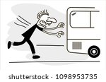concept of lateness. man is... | Shutterstock .eps vector #1098953735
