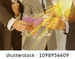 business group cheers  wine... | Shutterstock . vector #1098956609