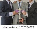 business group cheers  wine... | Shutterstock . vector #1098956675