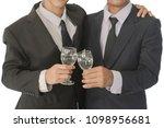 business group cheers  wine... | Shutterstock . vector #1098956681